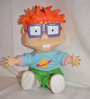 "Rugrats Chuckie 12"" Plush Doll Vinyl Face Soft Body 1997 Nickelodeon Applause"