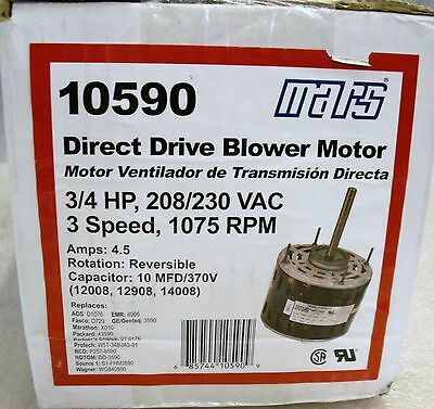 MARS 3/4 Hp Direct Drive Blower Motor 208/230 VAC 3 Speed Reversible 1075RPM (UU