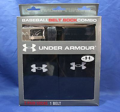 Under Armour Baseball Belt/Sock Combo-Navy Large (2 Pair Socks/1 Belt)
