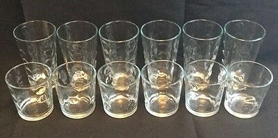 HTF Libbey Rock Sharpe Urban Clear Dot 6 Tumblers & 6 Old Fashioned Glasses Rare