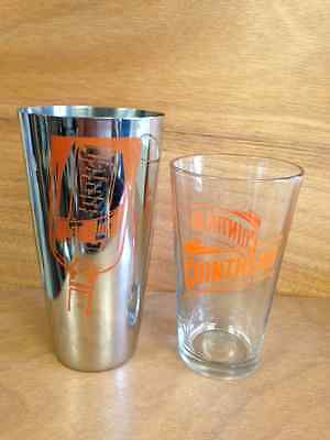 Cointreau Metal Cocktail Shaker Drink Mixer with Pint Glass Orange Logo New