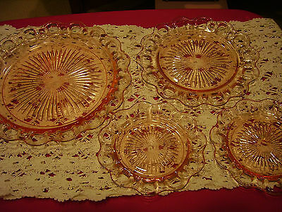 "FIVE 1930's Anchor Hocking Old Colony Pink Depression Glass Plates 10"" & Small"