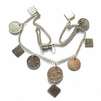 Vtg WWII Australian Trench Art Coin Art Six & Three Pence Charm Pendant Necklace
