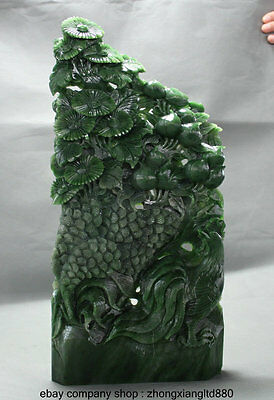 """15"""" China Natural Jasper Green Jade Hand Carving Rooster Cock Peach Tree Statue"""