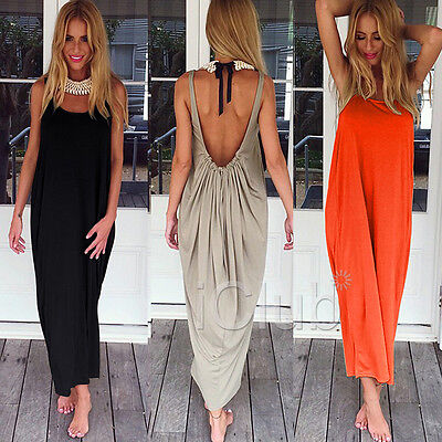 Womens Long Maxi Backless Ladies Evening Loose Party Cocktail Dress Black Orange