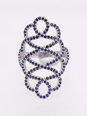 925 Sterling Silver Ring Black Cz Crystal Fashion Women Trend Jewelry