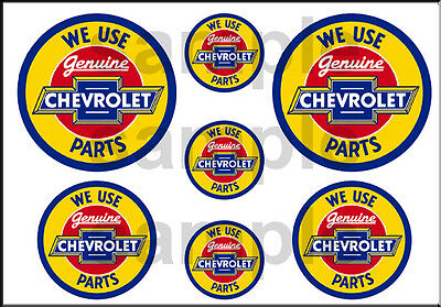 Vintage Style 1 3/4 And 1/2 Inch Chevrolet Parts Dirama Garage Decal Sticker
