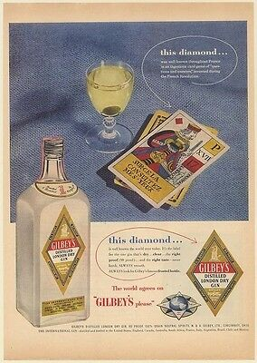 1954 Gilbey's Gin Diamond Label Questions and Answers Card Game Print Ad