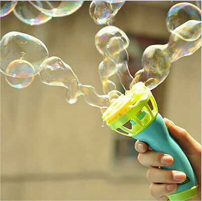 Kids Childhood Outdoor Game Water Fun Play Toy Hand Held Bubble Blower Gun
