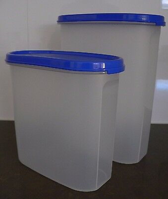 BRAND NEW Tupperware Modular Mates Oval 3 & Oval 4 Set Brilliant Blue Seals