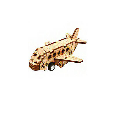 Wooden Model Kit Passenger Airplane 3D Woodcraft Construction Puzzle Wind-Up