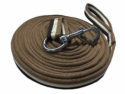 Soft Lunging Reins Training Aid Lung Line Lunging Rope In Brown/white/chocolate