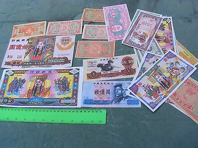 Lot of 24 different  Chinese Hell Banknotes ..Temple Money...many styles.