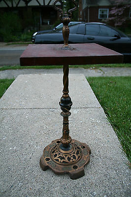 Antique Cast Iron Smoking Stand Table Painted Polychrome Ornate Beautiful Patina