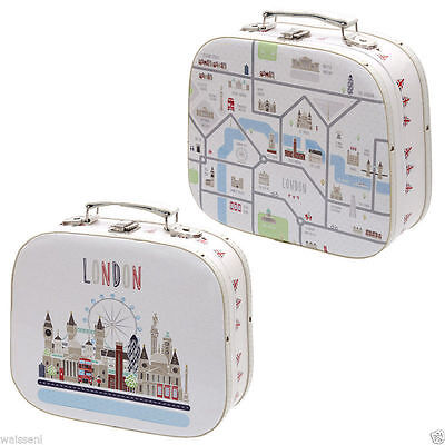 2 Rounded Quality Storage, Vanity Cases London map Craft case Design Gift