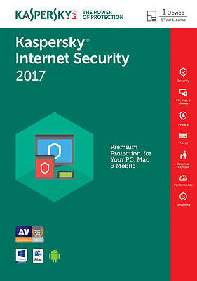 KASPERSKY INTERNET SECURITY 2017 1 AN 1 PC Licence  par mail ESD