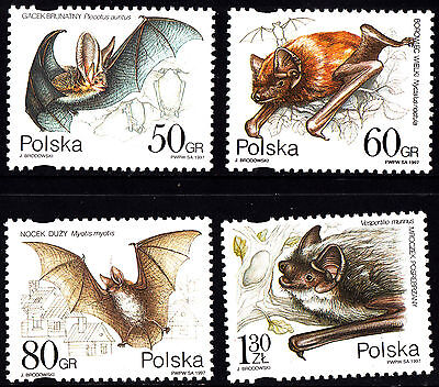 Poland 1997 Bats Complete Set of Stamps, MNH