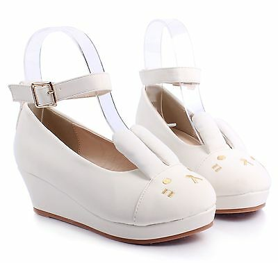 White Cute Ankle Strap Buckle Kids Girls Bunny Ears Wedge High Heels Youth Shoes
