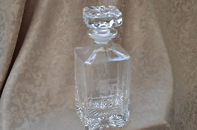 "Vintage Crystal Decanter Etched Latin ""quaere Verum"" Coat Of Arms Seek The Truth"