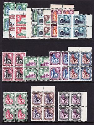 St Vincent 1938-47 Complete Set In Blocks Of Four Sg 149-159 Mnh.