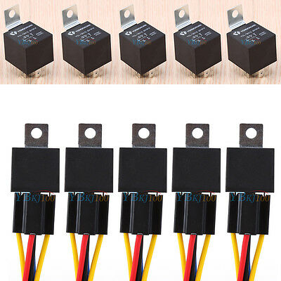 5X 12V 12 Volt DC 40A AMP Relay & Socket SPDT 5Pin 5 Wire For Car Auto Truck Hot