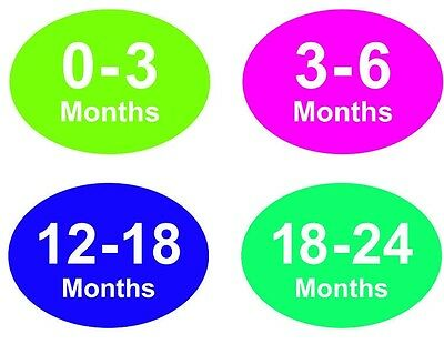 Coloured Baby & Childrens Clothes Size Stickers - Sticky Labels - 0 - 3 Months