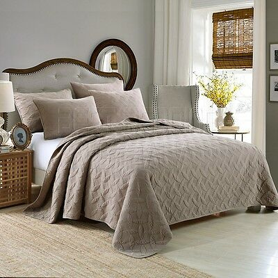 100% Cotton Coverlet / Bedspread Set Quilt Queen King Size Bed 230x250cm Mocha