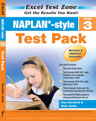 Excel Test Zone NAPLAN-style Year 3 Test Pack NEW Pascal Press 9781741254921