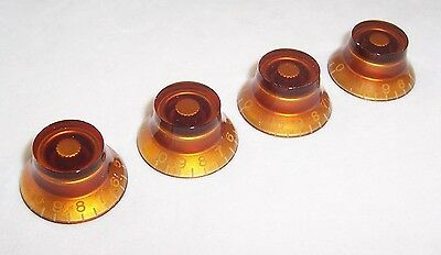 Set Of 4 Top Hat Speed Knobs For Gibson Etc / Amber