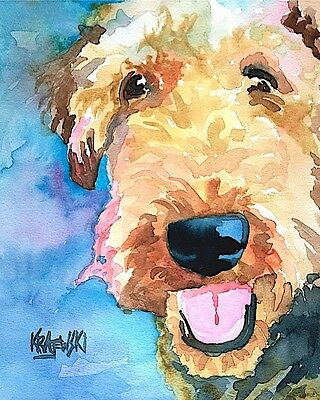 Airedale Terrier Dog Art PRINT Signed by Artist Ron Krajewski Painting 8x10