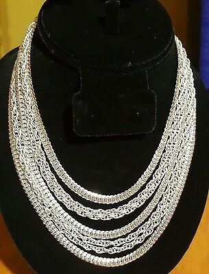 vintage choker necklace silver tone multi chains