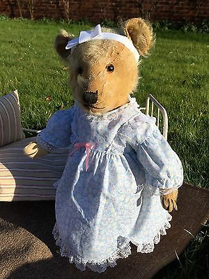 Miss Mathilda  -1930's Old Antique Chiltern Hugmee Mohair Teddy Bear in clothes