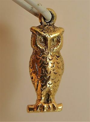 Vintage Solid 9ct Yellow Gold OWL Charm Pendant Jewellery Gift 1959 Hm