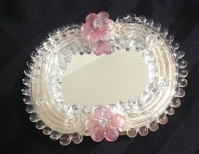 Italy Murano Venetian Art Glass Ladies Mirror