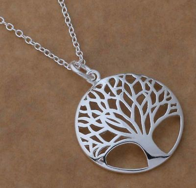 """925 Sterling Silver Tree of Life Pendant Filigree Tree Necklace 18"""" w/ Gift bag"""