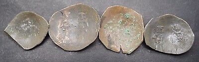 Group Of 4 Ancient Byzantine Copper Cup Shaped Coins 9Th-12Th Century Ad