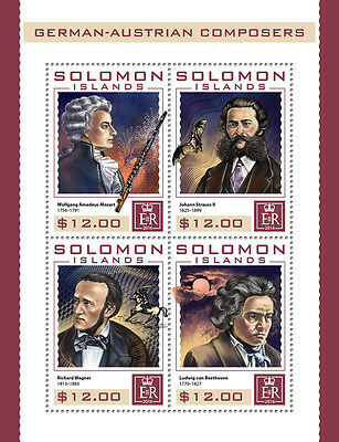SOLOMON ISLANDS 2016 ** Composers Mozart Strauss Wagner Beethoven M/S #409a