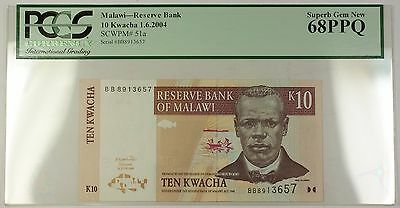 1.6.2004 Malawi 10 Kwacha Reserve Bank Note SCWPM# 51a PCGS Superb GEM 68 PPQ