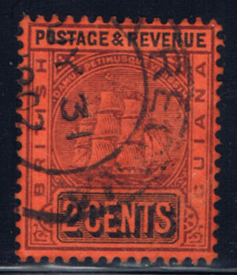 British Guiana #134(3) 1901 2 cent violet & black on red Seal of Colony Used
