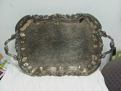 Vtg F.b.rogers 1883 Trade Mark 6377 Waiter Tray 25 X 14.25 In. Footed