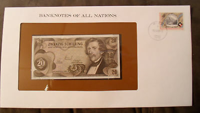 Banknotes of All Nations Austria 20 Shilling  1967 UNC P 142 Prefix I