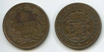 G7712 - Luxemburg 10 Centimes 1865 A BARTH KM#23.2 Luxembourg Lëtzebuerg