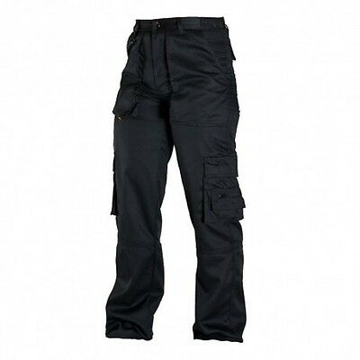 Work Trousers Mens Cargo Combat Style Heavy Duty Black Cerber