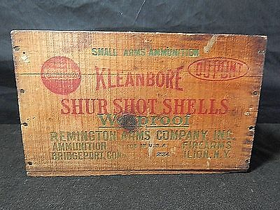 Remington Kleanbore Shur Shot Shells Ammunition Box Wood Crate Antique 12 Gauge