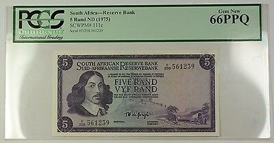 (1975) No Date South Africa 5 Rand Bank Note SCWPM# 111c PCGS Gem New 66 PPQ