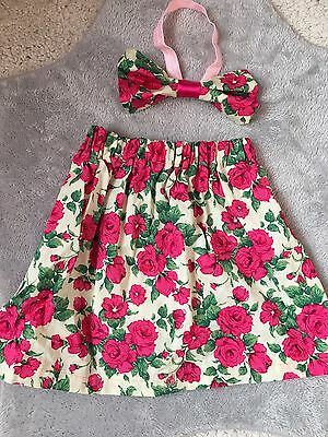 Baby Girls Floral Hand Made Skirt & Matching Headband Bow 6-12m ��