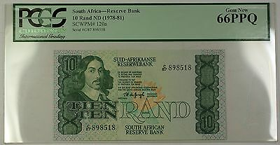 (1978-81) No Date South Africa 10 Rand Bank Note SCWPM# 120a PCGS Gem New 66 PPQ