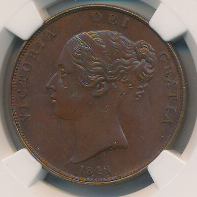 Great Britain Victoria Penny 1848 - NGC MS 64 BN