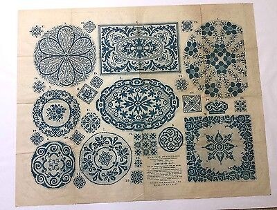 "Antique large Russian embroidery & dress paper pattern/chart 31""x25"" V rare [p2]"