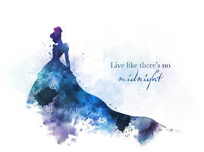 ART PRINT Cinderella Quote illustration, Dress, Wall Art, Home Decor, Gift